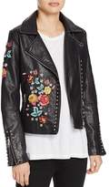 Molly Bracken Floral-Embroidered Faux Leather Biker Jacket