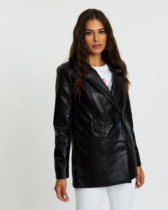 Missguided Faux Leather Oversized Masculine Blazer