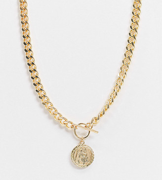 ASOS DESIGN Curve t bar necklace with coin in gold tone