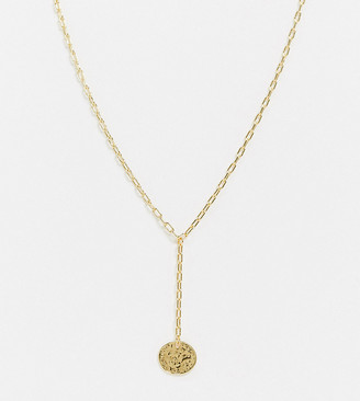 Orelia lariat necklace with coin pendant in gold plate