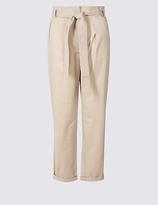 Per Una Pure Cotton Tie Waist Straight Leg Trousers