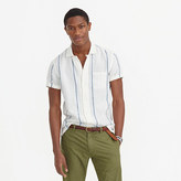 Wallace & Barnes Camp-collar Irish Linen Shirt In Indigo Blanket Stripe