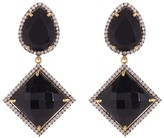 Gold Plated Sterling Silver Black Onyx & Simulated Diamond Earrings