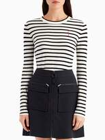 Stripe Crew Neck Knit Top with Embroidered Face