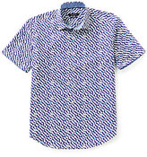 Bugatchi Shaped-Fit Fish Egg Print Short-Sleeve Woven Shirt