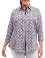 Foxcroft Tile Print Cotton Button-Down Blouse