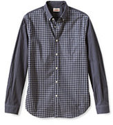 Classic Men's Canvas Tailored Fit Pattern Blocked Heritage Poplin Shirt-Dark Gray Combo