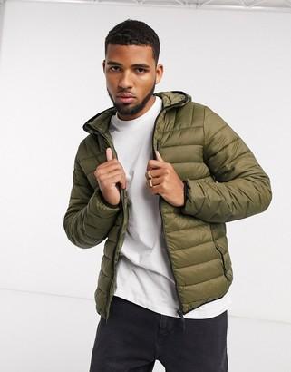 Bershka quilted jacket in khaki