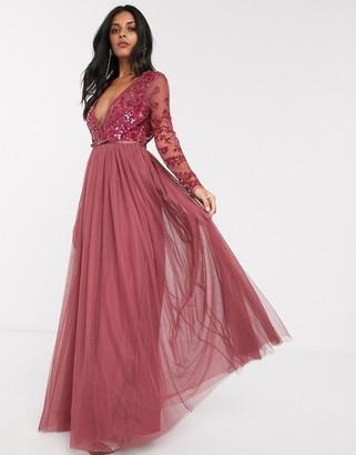 Needle & Thread sequin bodice maxi dress in raspberry-Red