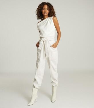 Reiss Miranda - Drape Shoulder Sleeveless Top in White