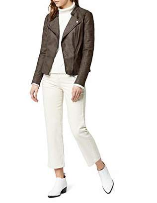 Only Women's Lava Faux Suede Biker leather jacket Long Sleeve Jacket,8 (Manufacturer Size: 36)