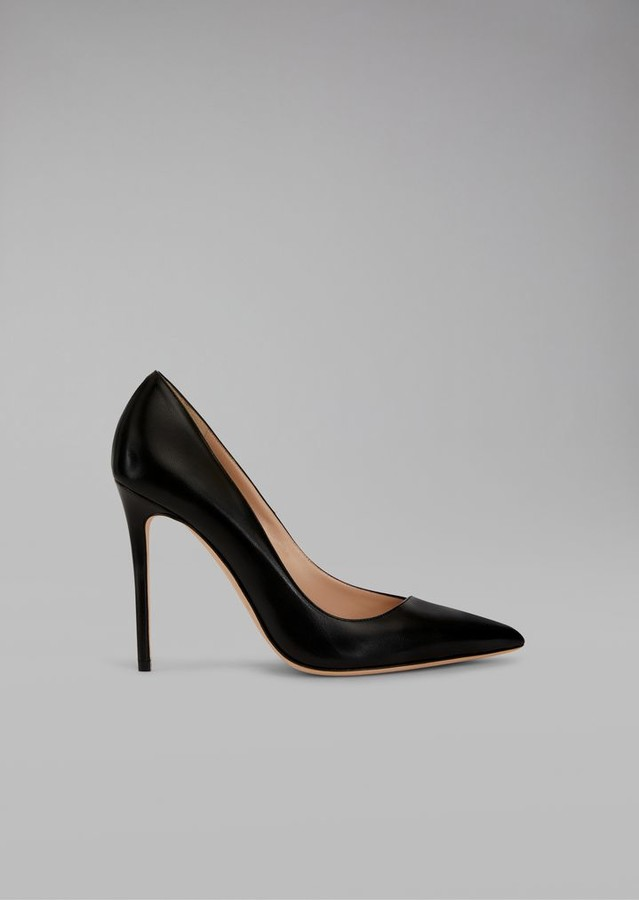 Giorgio Armani Asymmetric Court Shoes In Glossy Leather