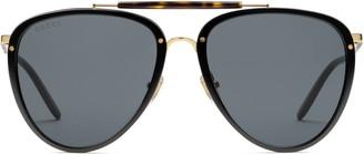 Gucci Aviator acetate and metal sunglasses