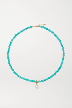 Mateo 14-karat Gold, Turquoise And Pearl Choker - one size