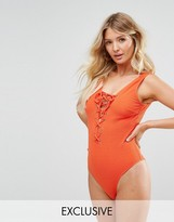 Wolfwhistle Wolf & Whistle Textured Lace Up Swimsuit D-F Cup