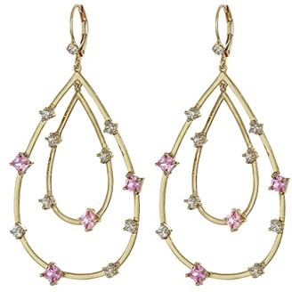 Nina Adorned Layered Teardrop Earrings (Gold/Light Pink/White CZ) Earring