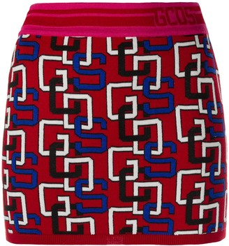 GCDS Logo Print Knitted Mini Skirt