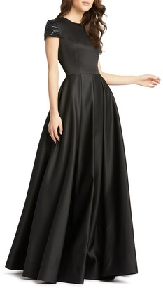 Mac Duggal Beaded Cap-Sleeve A-Line Satin Gown