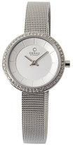 Obaku Ladies' Stone Set Silver Tone Mesh Watch