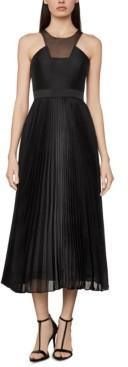 BCBGMAXAZRIA High-Neck Pleated-Skirt Dress