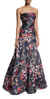 Monique Lhuillier Strapless Floral Mikado Ball Gown, Midnight/Multicolor