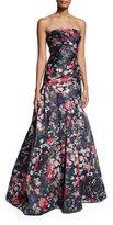 Monique Lhuillier Strapless Floral Mikado Ball Gown, Midnight/Multicolor