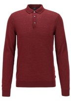 HUGO BOSS - Merino Wool Sweater With Polo Collar - Dark Red