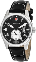 Wenger Aerograph 72470 Men's Black Leather and Stainless Steel Watch