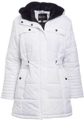 Big Chill Women's Puffer Coats WHITE - White Side-Belt Hooded Berber Collar Puffer Coat - Women & Plus