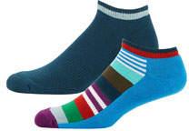 Happy Socks Men's Striped Low-Rise Athletic Socks, Set of 2