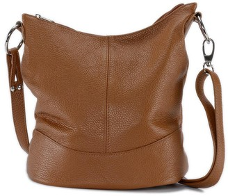 Oh My Bag Women's Hand Strap Main-Shoulder Bag Woman-Leather Made in Italy-Model BEAUBOURG-Dark Brown