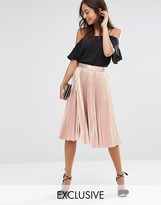 Closet London Closet Pleated Metallic Midi Skirt