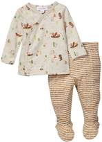 Angel Dear Happier Campers Print Top & Striped Footed Pants 2-Piece Set (Baby)