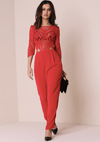 Missy Empire Bella Red Crochet Lace Top Jumpsuit
