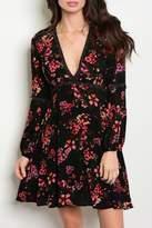 Sage Vneck Floral Dress