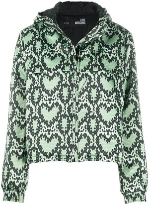 Love Moschino Hooded All-Over Heart Print Jacket