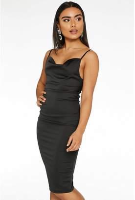 Quiz Black Satin Cowl Neck Bodycon Midi Dress