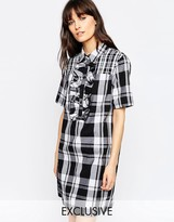 Asos Le Kilt for Contrast Plaid Shirt Dress With Ruffle Detail