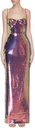 Alex Perry Iridescent sequin corset gown