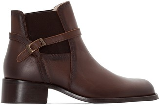 Anne Weyburn Leather Ankle Boots with Mid-Height Heel and Elasticated Sides