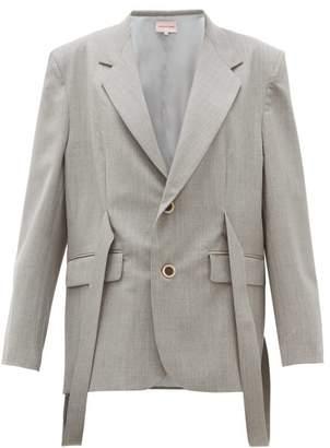 Natasha Zinko Strap Wool Blend Jacket - Womens - Grey