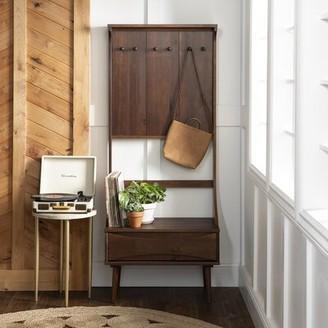 Corrigan Studio Malena Pine Solid Wood Hall Tree with Bench and Shoe Storage Color: Walnut