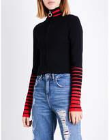 Tommy Hilfiger x Gigi Hadid striped stand-collar knitted jacket