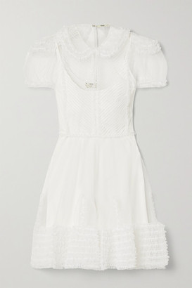 Fendi Layered Tulle And Knitted Mini Dress - White