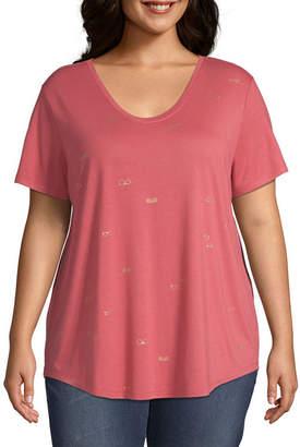 A.N.A Scoop Neck Short Sleeve Print T-Shirt - Plus