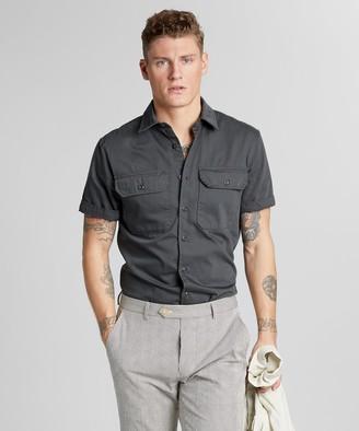 Todd Snyder Italian Two Pocket Utility Short Sleeve Shirt in Slate