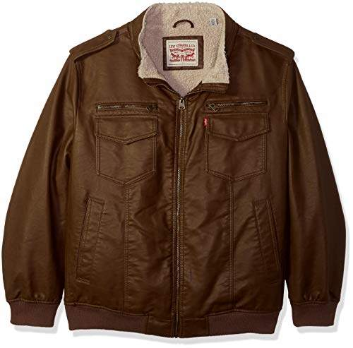 b873b0ea8 Men's Big and Tall Faux Leather Sherpa Lined Aviator Bomber Jacket
