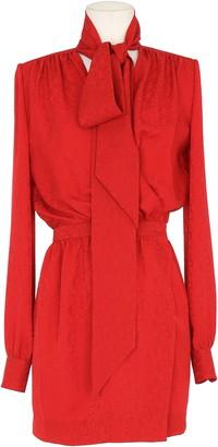 Saint Laurent Tie Neck Paisley Jacquard Long Sleeve Faux Wrap Minidress