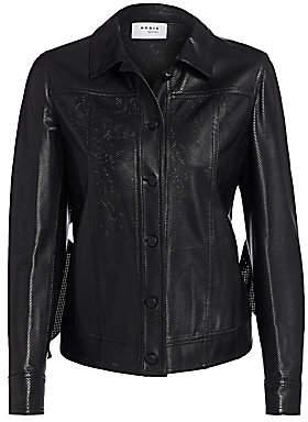 Akris Punto Women's Ruffled Perforated Leather Jacket