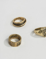 ICON BRAND Lion Burnished Gold Rings In 3 Pack